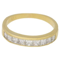 18 Karat Gold Princess Cut Diamond Half Eternity Ring