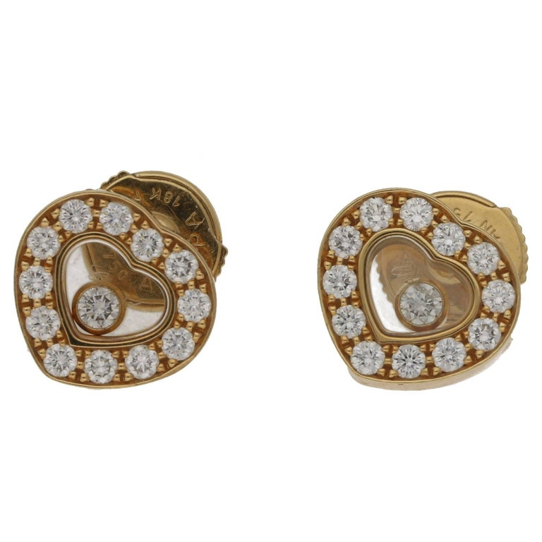 Chopard Happy Diamond Yellow Gold Earrings