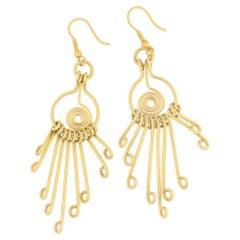 1980s 18 Karat Gold Long Drop Earrings