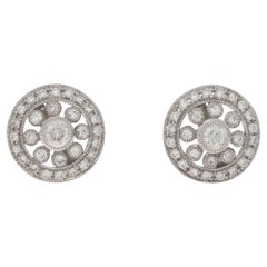 Diamond Edwardian Style Gold Stud Earrings