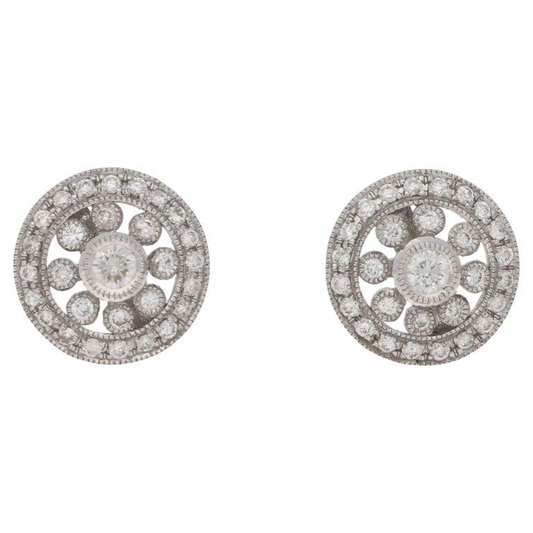 Diamond Edwardian Style Gold Stud Earrings