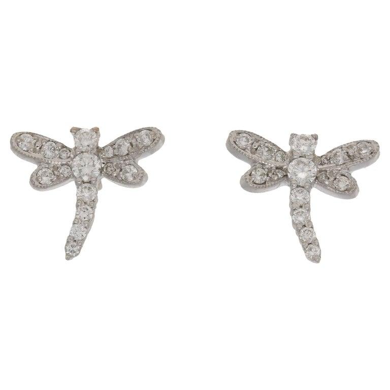 Diamond Dragonfly Gold Stud Earrings