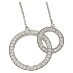 18 Karat Gold Interlocking Circles Diamond Necklace