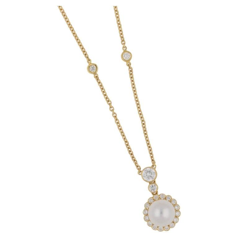 Pearl Diamond Cluster 18 Karat Yellow Gold Necklace