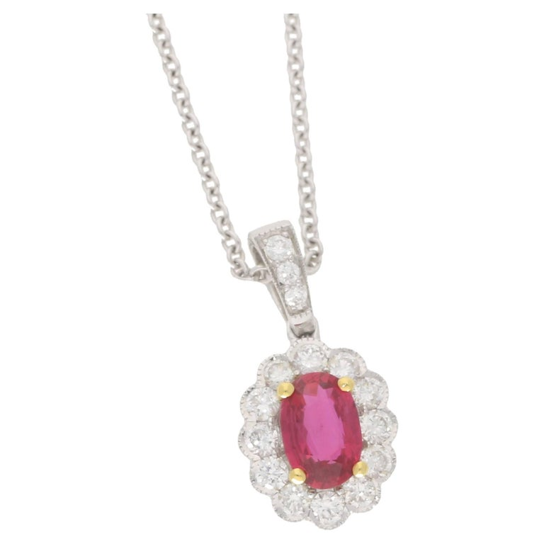 Oval Ruby Diamond Gold Cluster Pendant