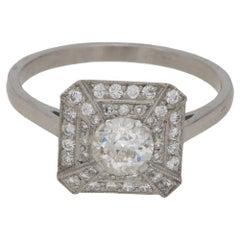 Art Deco Style Diamond & Platinum Engagement Ring