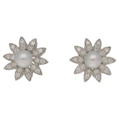 Pearl Diamond Floral Gold Stud Earrings