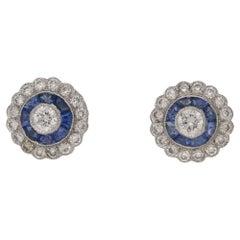 Sapphire Diamond 18 Karat Gold Stud Earrings
