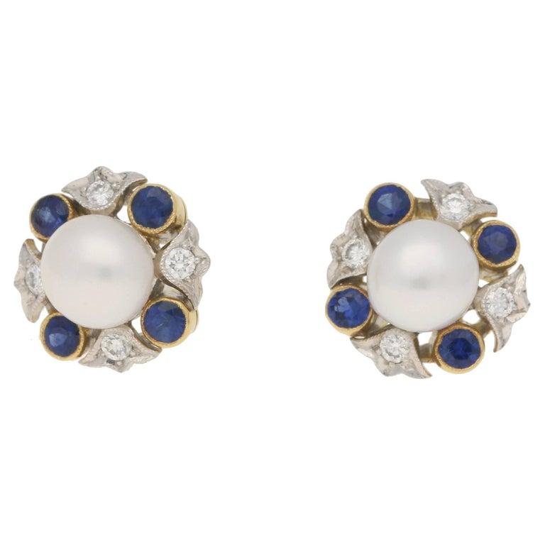 Sapphire Diamond Pearl Cluster Stud Earrings
