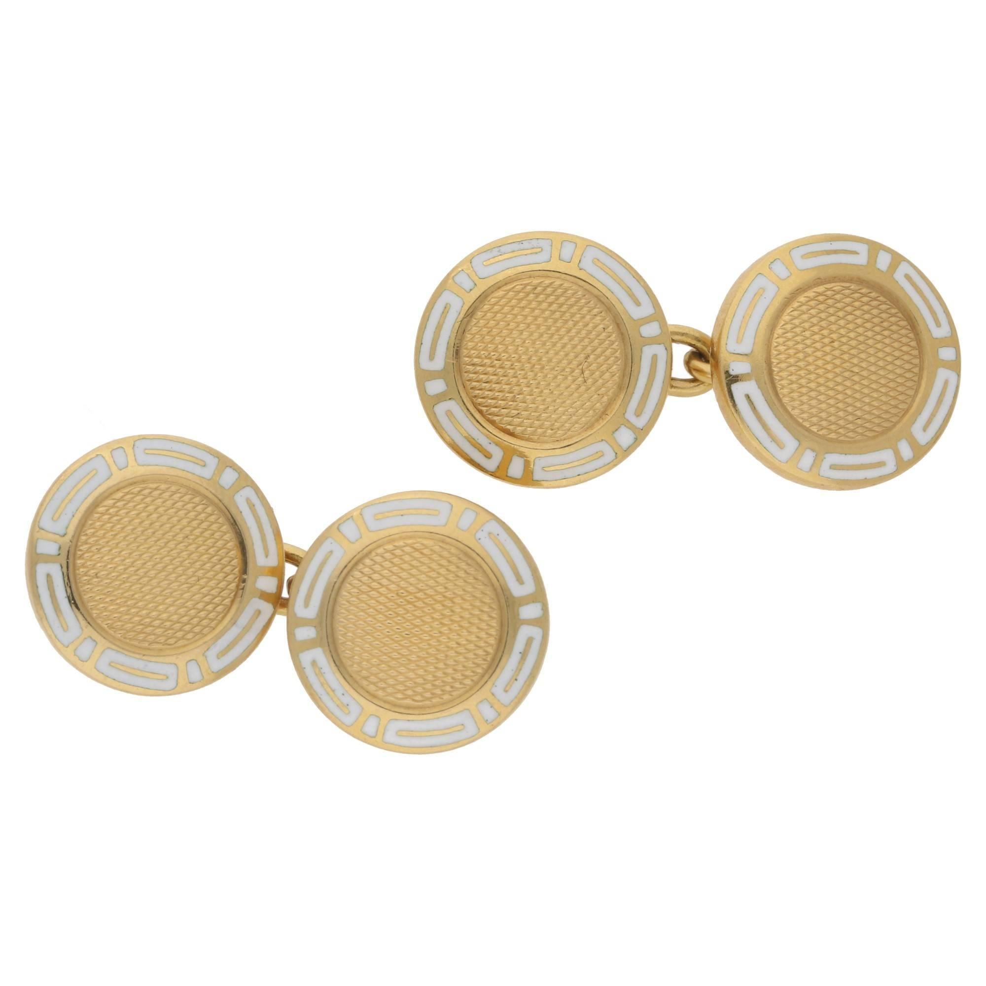 Bvlgari White Enamel Round Chain Cufflinks in 18k Yellow Gold