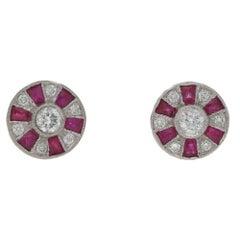Ruby Diamond Deco Style Stud Earrings