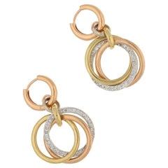 14 Karat Tri Gold Diamond Drop Earrings