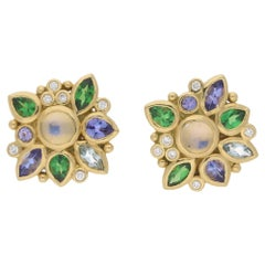 Temple Saint Clair Gold Multi Gem Earrings