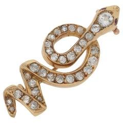18 Karat Gold Diamond Snake Brooch
