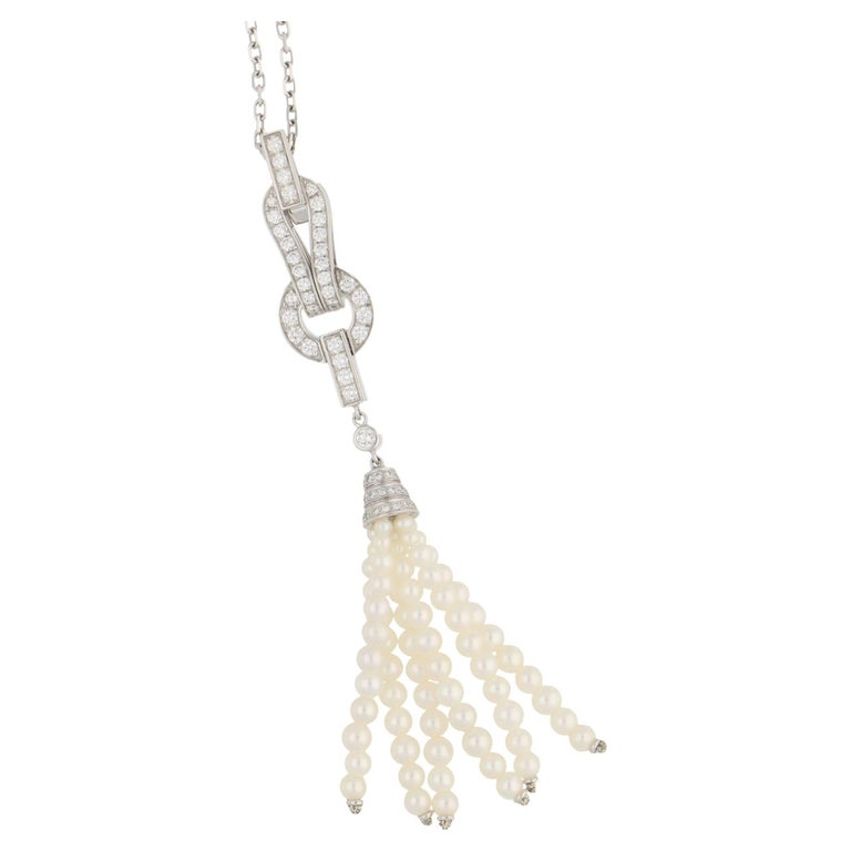 Cartier Pearl Diamond Gold Tassel Necklace