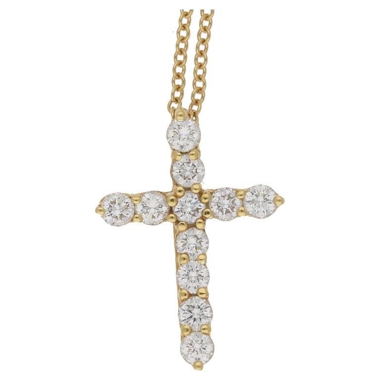 18 Karat Gold Diamond Tiffany & Co. Cross Pendant