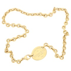 18 Karat Gold 'Please Return to Tiffany' Oval Tag Necklace