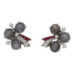 Oscar Heyman 1940s Star Sapphire Ruby Diamond Earrings