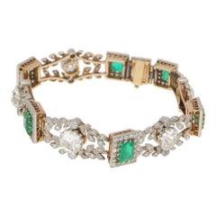 Edwardian Emerald Diamond Bracelet