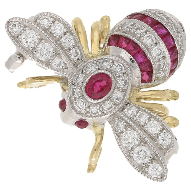 Ruby Diamond Gold Bee Brooch