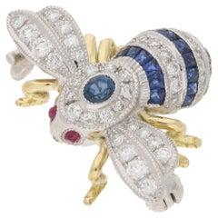 18 Karat Gold Sapphire Diamond Bee Brooch
