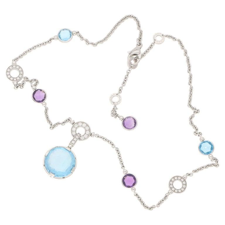 Bvlgari Parentesi Amethyst Topaz Diamond Cocktail Necklace