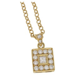18 Karat Gold Diamond Square Cluster Pendant