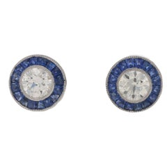 Diamond Sapphire Target Stud Earrings