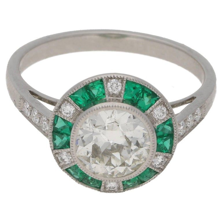 Emerald Diamond Target Engagement Ring