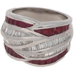 Platinum Diamond Ruby Dress Ring