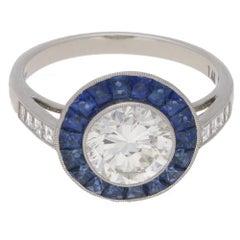 Sapphire Diamond Platinum Target Engagement Ring