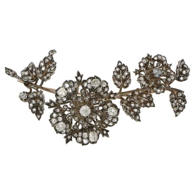 Victorian Diamond Floral Spray Brooch For Sale
