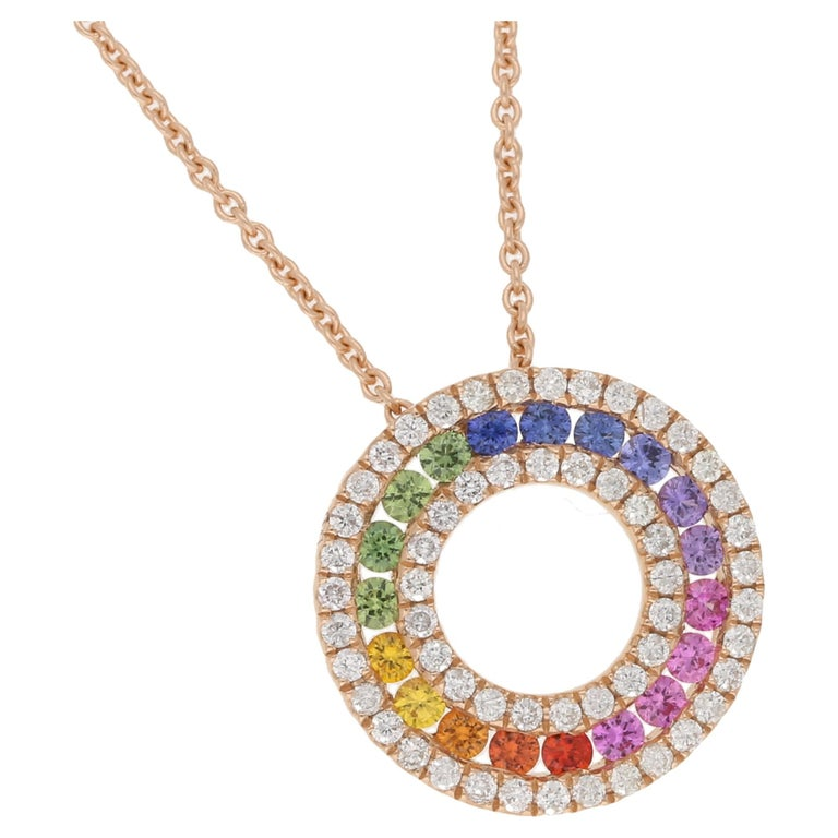 18 Karat Rose Gold Rainbow Sapphire Diamond Necklace