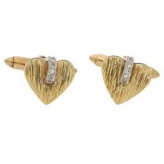 14 Karat Gold Diamond Heart Cufflinks