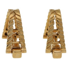 1940s French 18 Karat Gold Stirrup Cufflinks