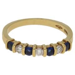 18 Karat Gold Sapphire Diamond Half Eternity Ring