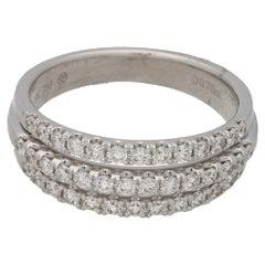 18 Karat Gold Diamond Three-Row Ring