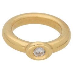 18 Karat Gold Chaumet Diamond Single Stone Ring