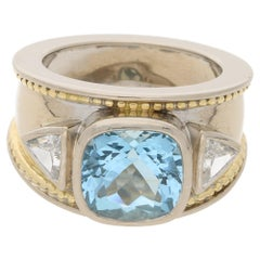 Theo Fennell Aquamarine Diamond Etruscan Style Ring