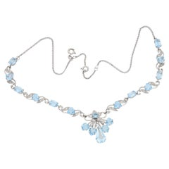 18 Karat Gold Aquamarine Diamond Necklace