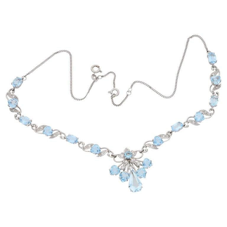 18 Karat Gold Aquamarine Diamond Necklace