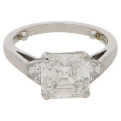 3.46 Carat Asscher Cut Diamond Engagement Ring