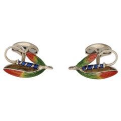 Silver Enamel Fly Fishing Cufflinks