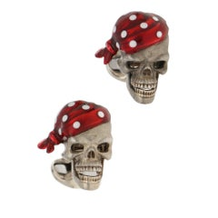 Silver Enamel Pirate Skull Cufflinks