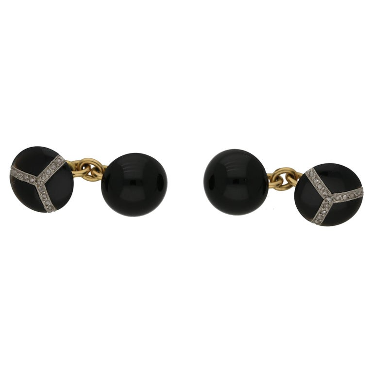 Art Deco Round Onyx Diamond Cufflinks