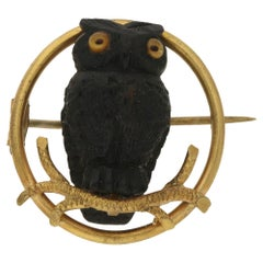 Victorian Bog Oak Gold Owl Brooch