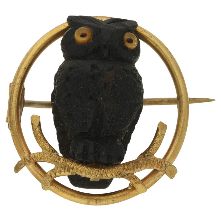 Victorian Bog Oak Gold Owl Brooch For Sale