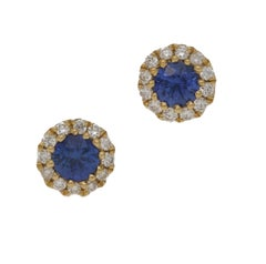 18 Karat Gold Sapphire Diamond Cluster Stud Earrings