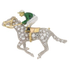 Boodles Enamel Diamond 1960s Jockey Brooch