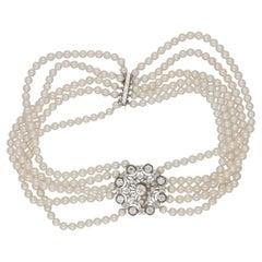 Edwardian Diamond Brooch Pearl Choker